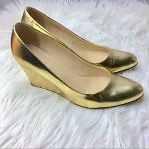 J.Crew Gold Metallic Leather Wedges